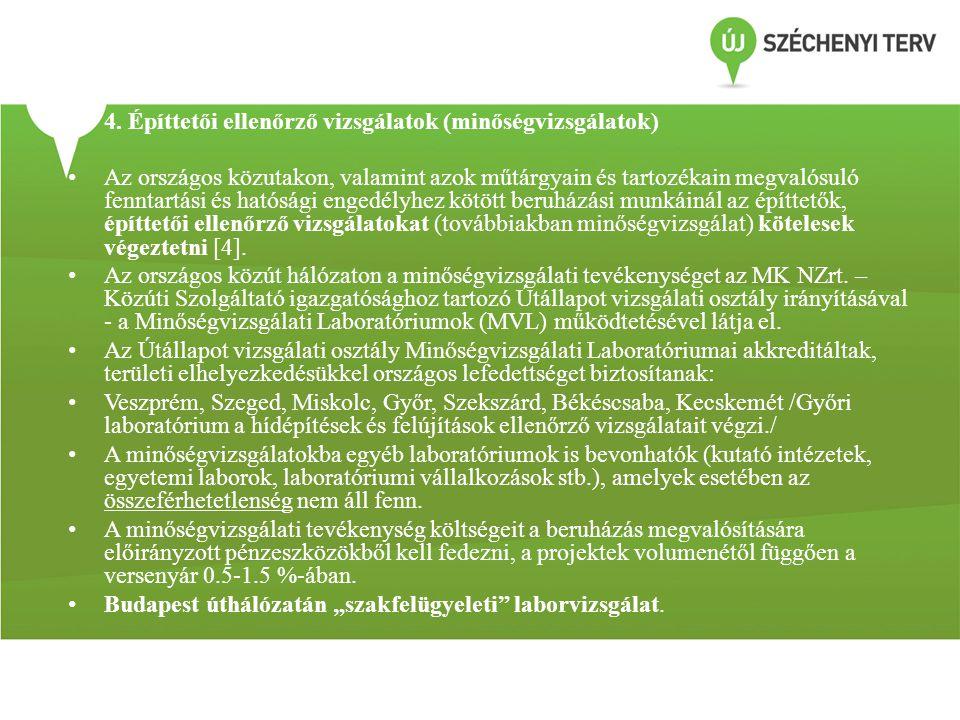 4. Építtetői ellenőrző vizsgálatok (minőségvizsgálatok)