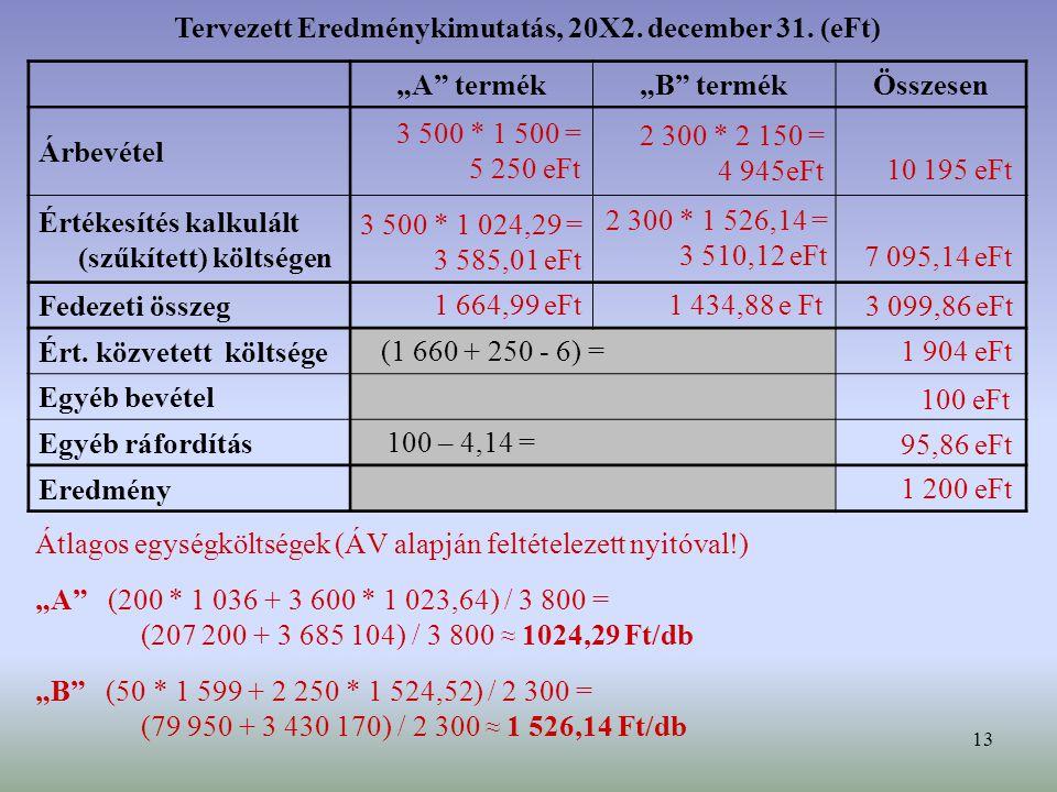 Tervezett Eredménykimutatás, 20X2. december 31. (eFt)