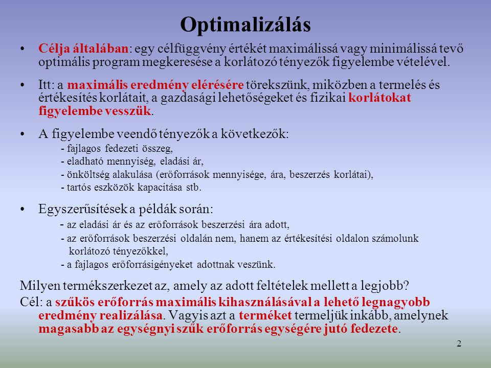 Optimalizálás