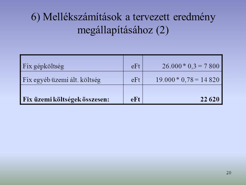 6) Mellékszámítások a tervezett eredmény megállapításához (2)