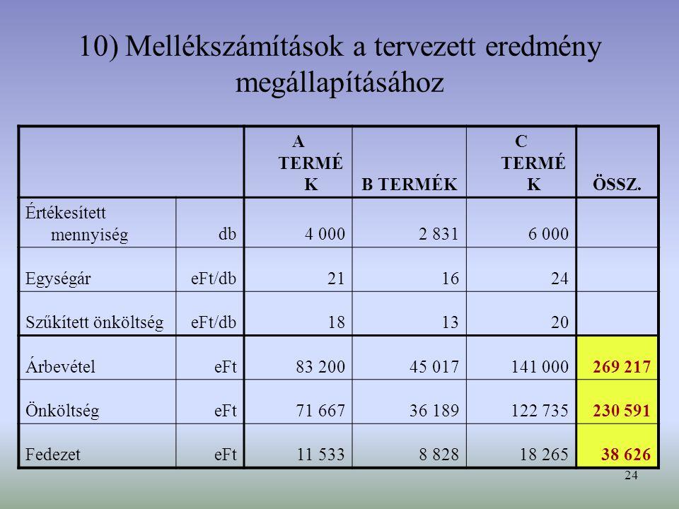 10) Mellékszámítások a tervezett eredmény megállapításához