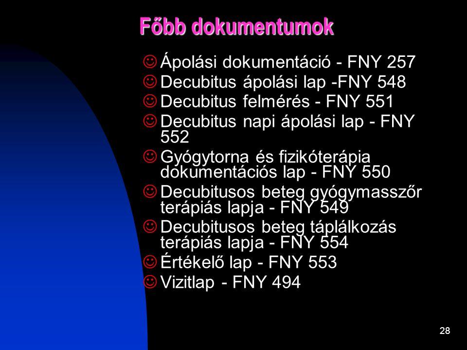 Főbb dokumentumok Ápolási dokumentáció - FNY 257