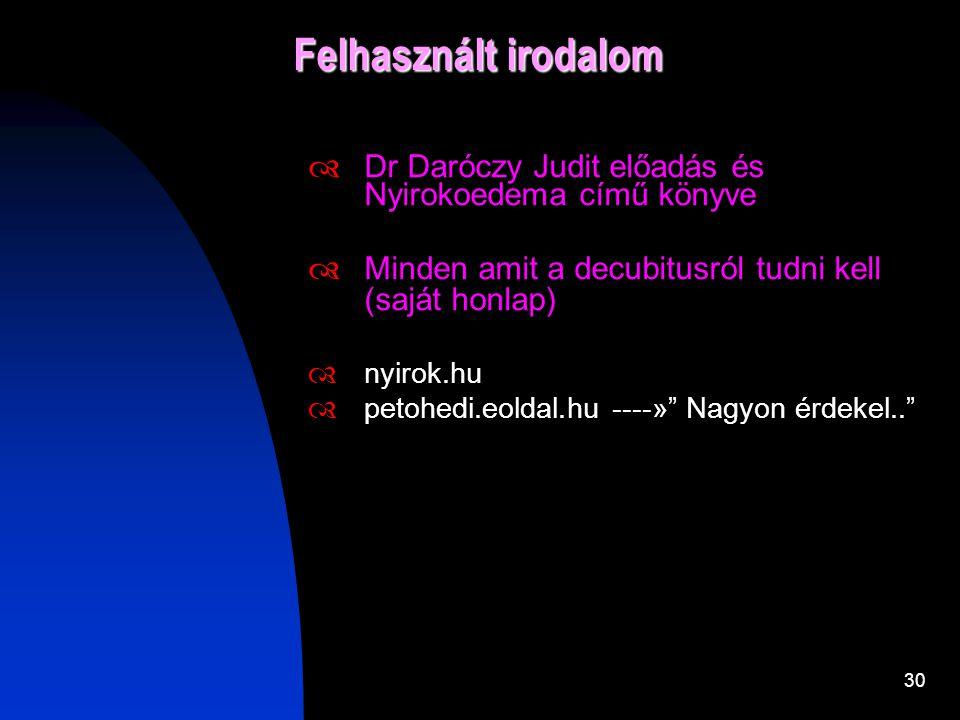 Felhasznált irodalom Dr Daróczy Judit előadás és Nyirokoedema című könyve. Minden amit a decubitusról tudni kell (saját honlap)