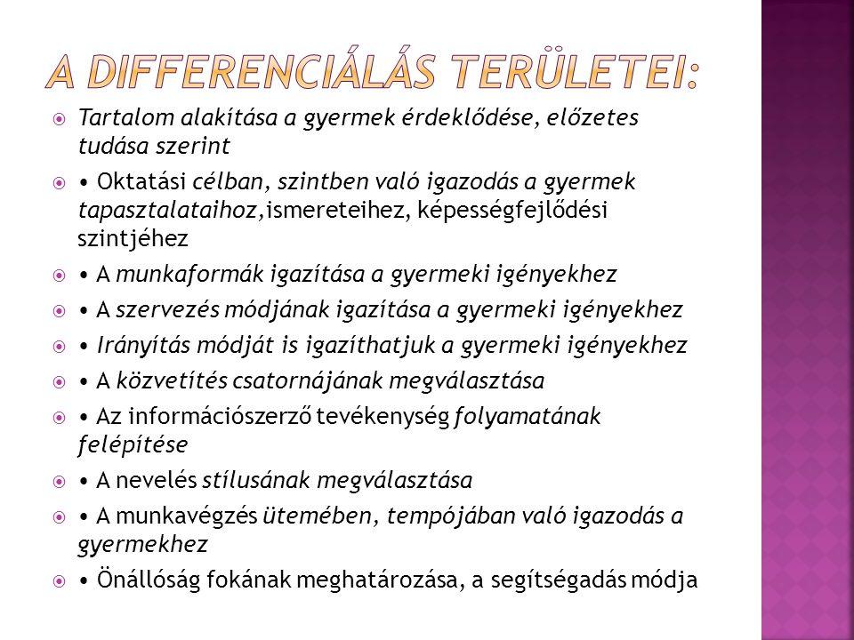 A differenciálás területei:
