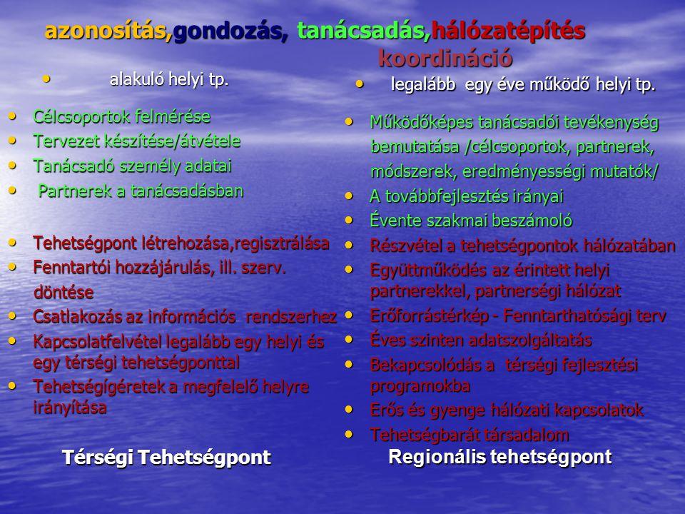 azonosítás,gondozás, tanácsadás,hálózatépítés koordináció