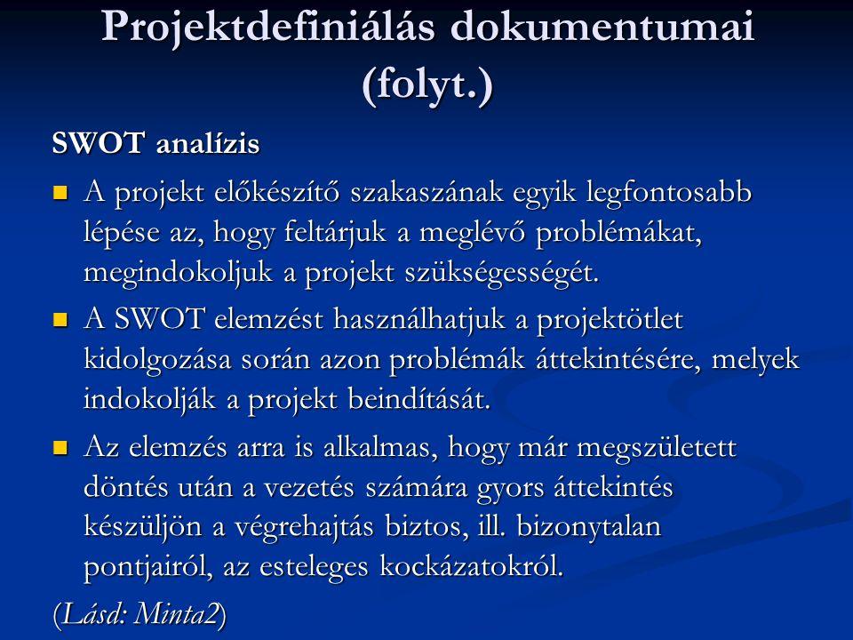 Projektdefiniálás dokumentumai (folyt.)