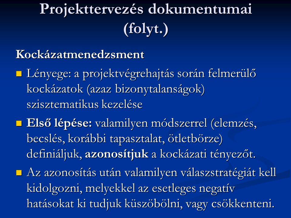 Projekttervezés dokumentumai (folyt.)