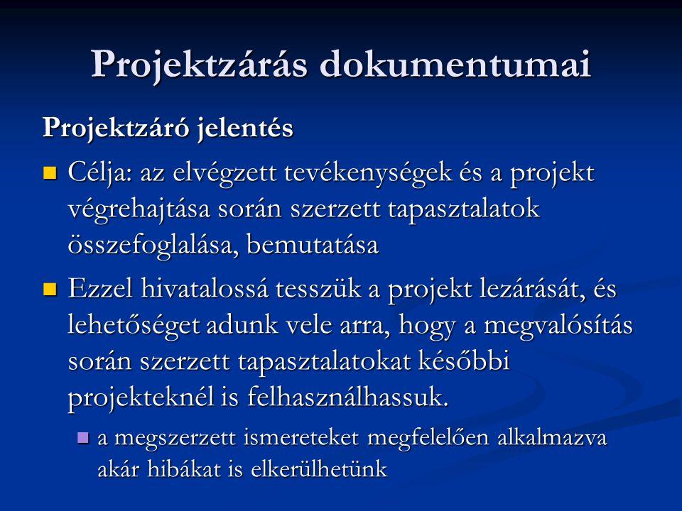 Projektzárás dokumentumai