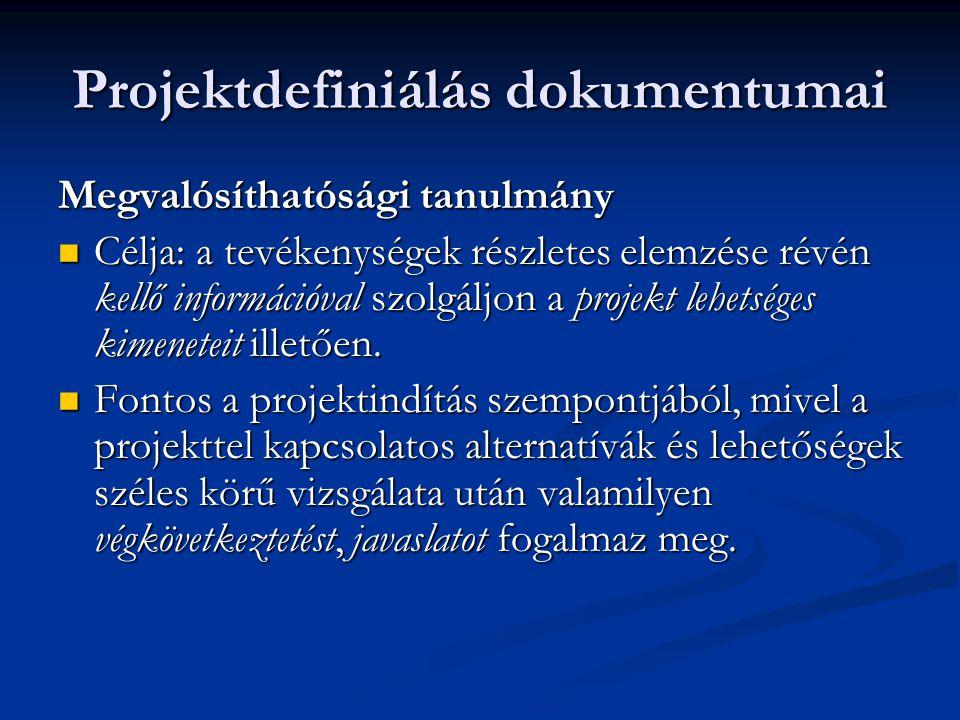Projektdefiniálás dokumentumai