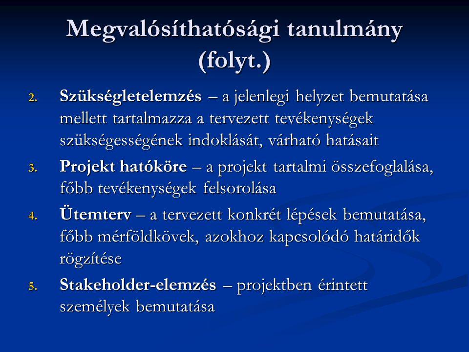 Megvalósíthatósági tanulmány (folyt.)