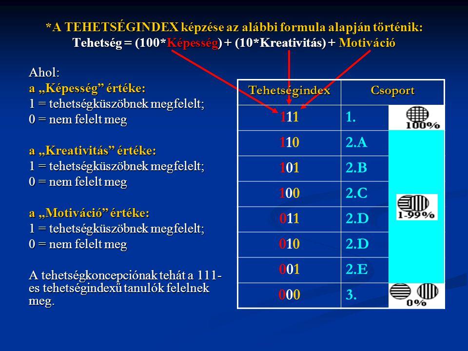 *A TEHETSÉGINDEX képzése az alábbi formula alapján történik: Tehetség = (100*Képesség) + (10*Kreativitás) + Motiváció