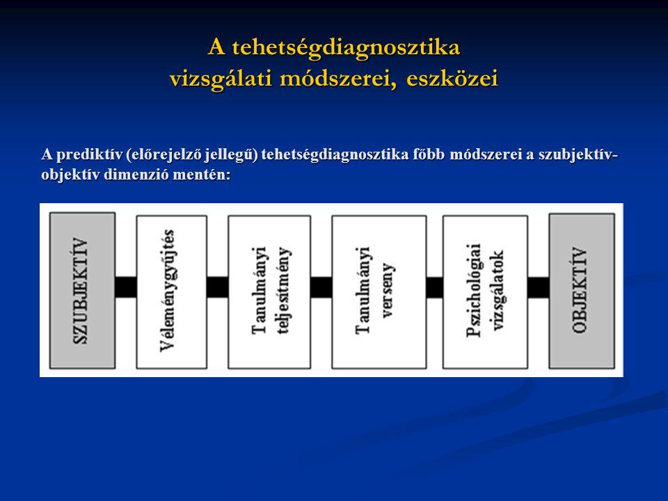 A tehetségdiagnosztika vizsgálati módszerei, eszközei