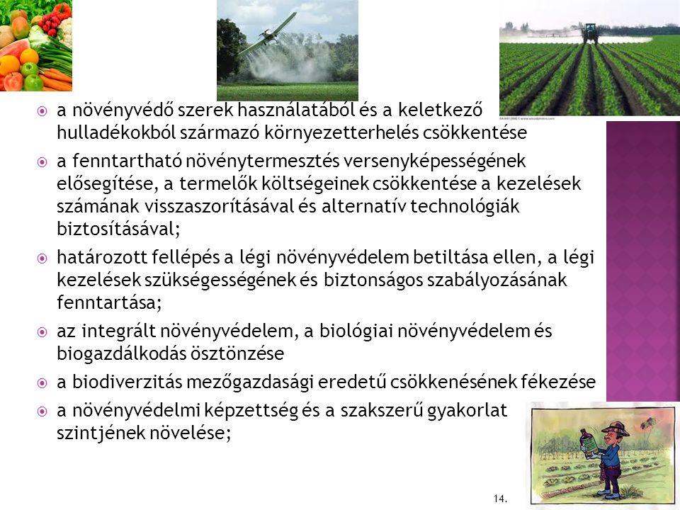 a növényvédő szerek használatából és a keletkező hulladékokból származó környezetterhelés csökkentése