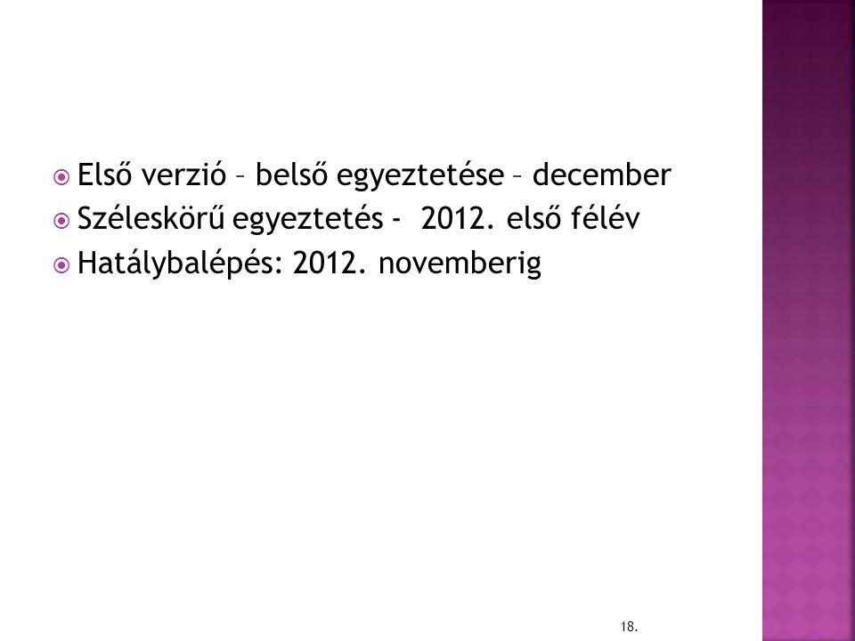Első verzió – belső egyeztetése – december