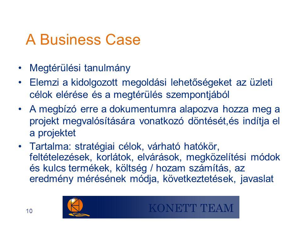 A Business Case Megtérülési tanulmány