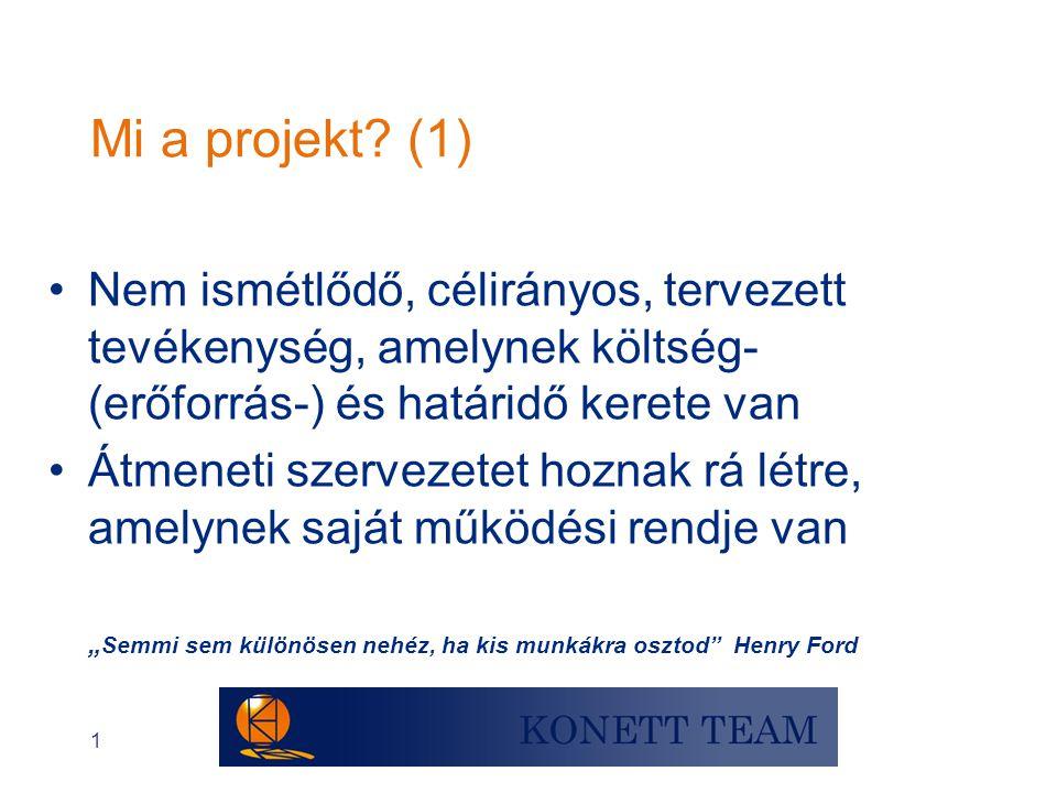 Mi a projekt (1) Nem ismétlődő, célirányos, tervezett tevékenység, amelynek költség- (erőforrás-) és határidő kerete van.