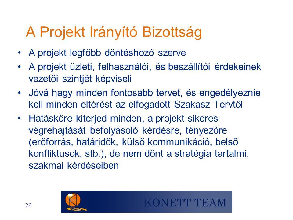A Projekt Irányító Bizottság
