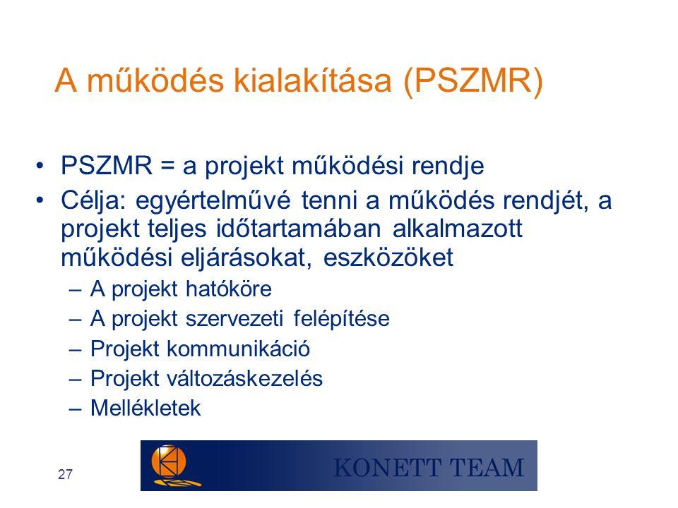 A működés kialakítása (PSZMR)