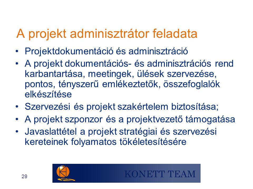 A projekt adminisztrátor feladata