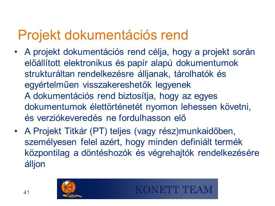 Projekt dokumentációs rend