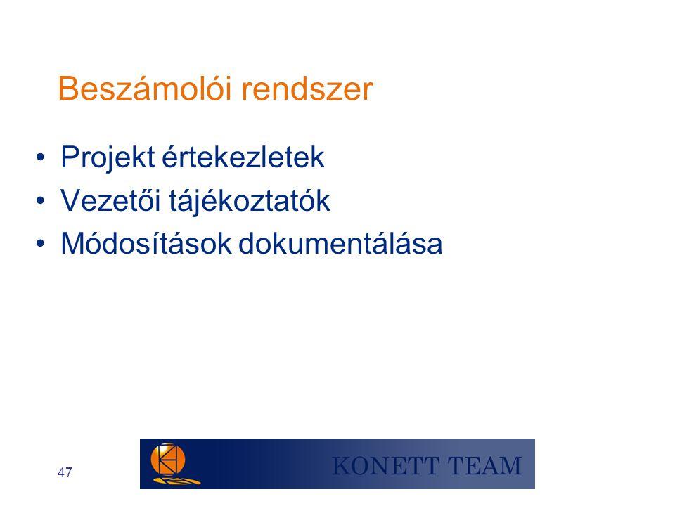 Beszámolói rendszer Projekt értekezletek Vezetői tájékoztatók