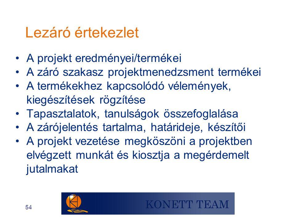 Lezáró értekezlet A projekt eredményei/termékei