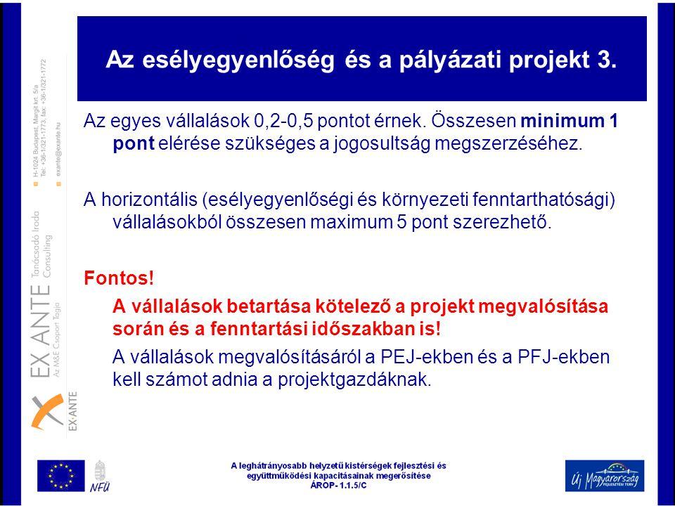 Az esélyegyenlőség és a pályázati projekt 3.