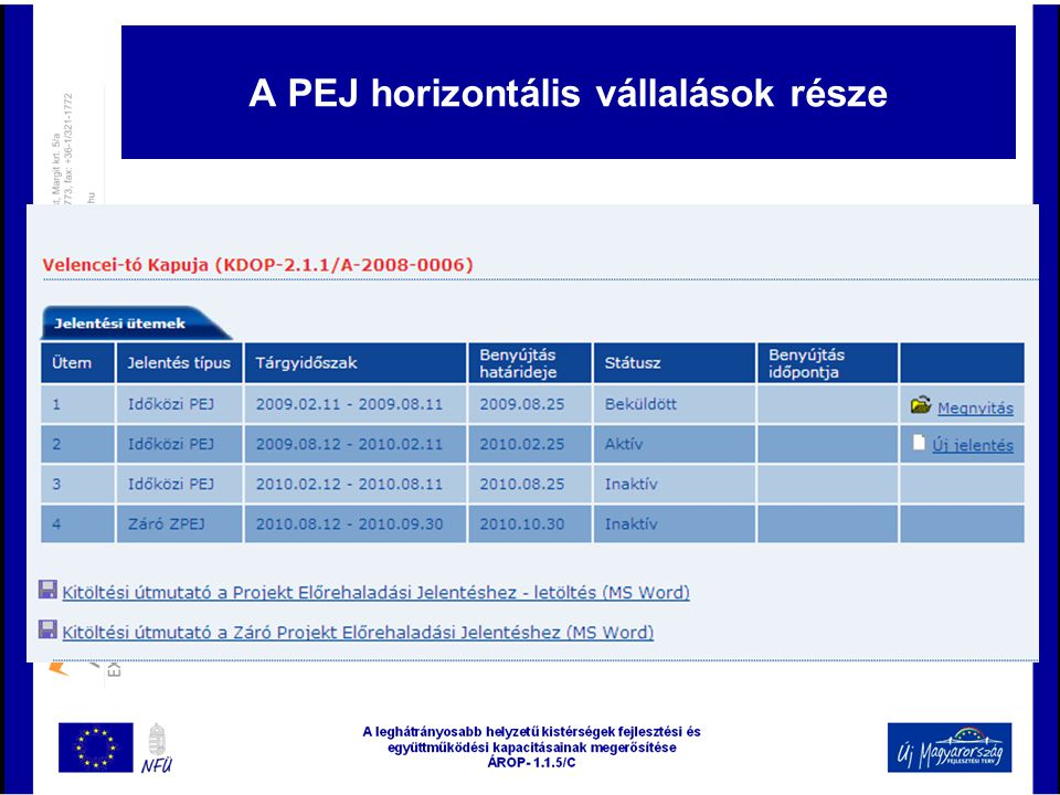 A PEJ horizontális vállalások része
