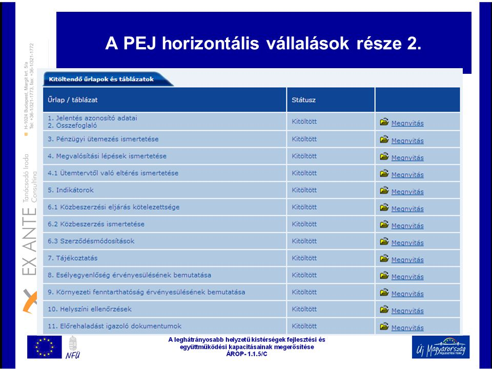 A PEJ horizontális vállalások része 2.