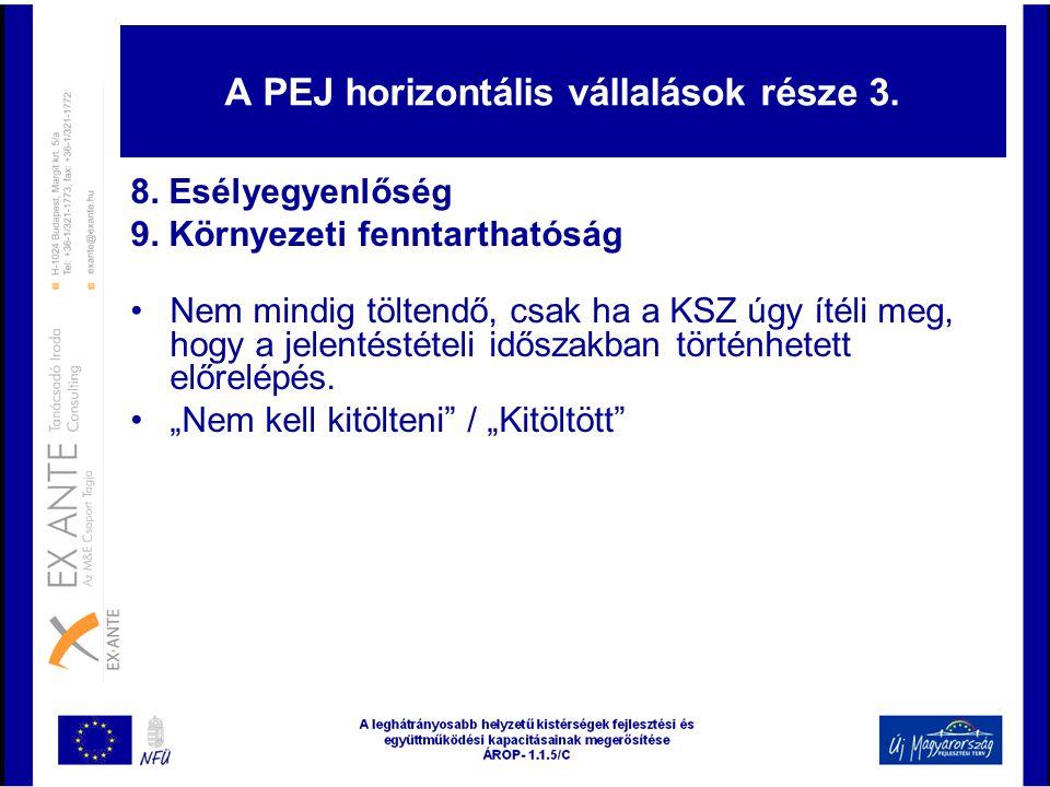 A PEJ horizontális vállalások része 3.