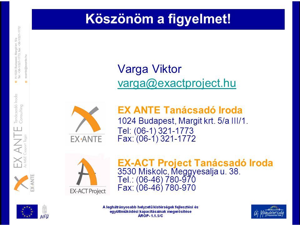 Köszönöm a figyelmet! Varga Viktor varga@exactproject.hu