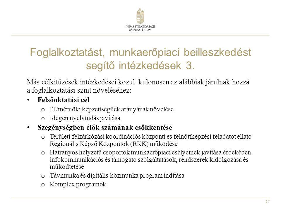 Foglalkoztatást, munkaerőpiaci beilleszkedést segítő intézkedések 3.