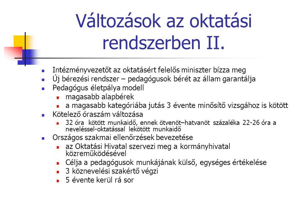Változások az oktatási rendszerben II.