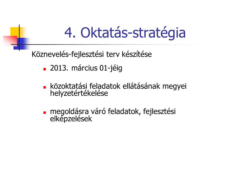 4. Oktatás-stratégia Köznevelés-fejlesztési terv készítése