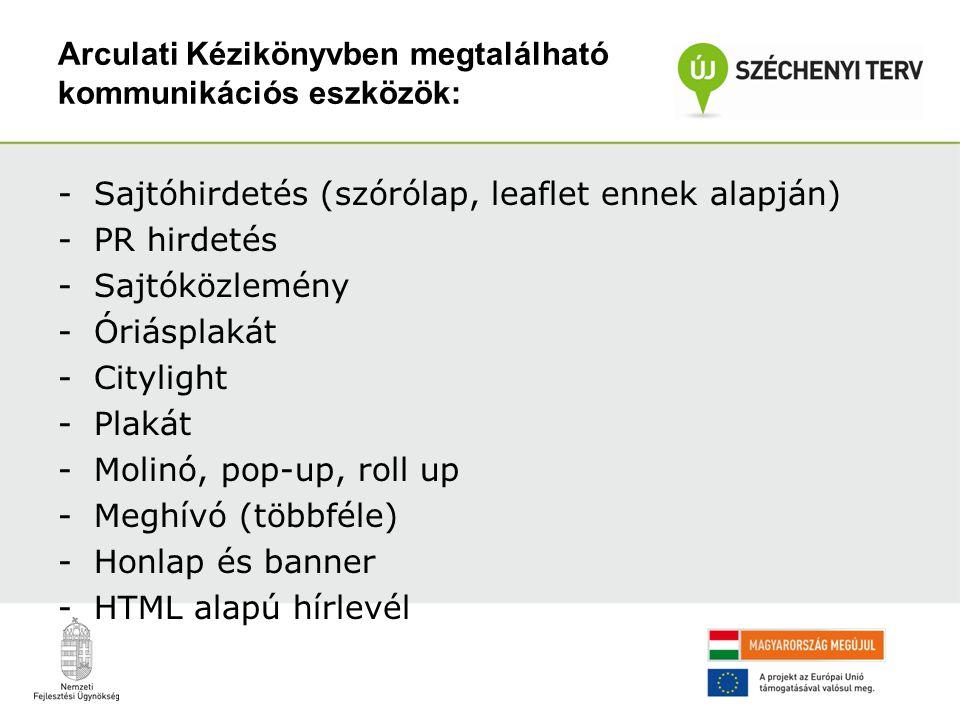 Arculati Kézikönyvben megtalálható kommunikációs eszközök: