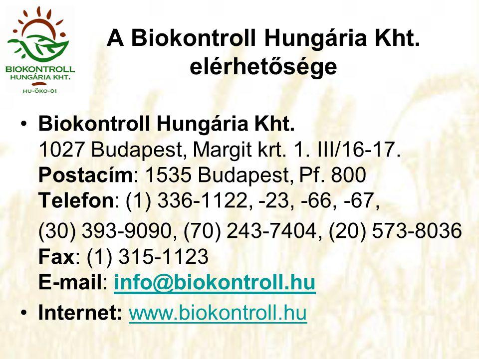 A Biokontroll Hungária Kht. elérhetősége