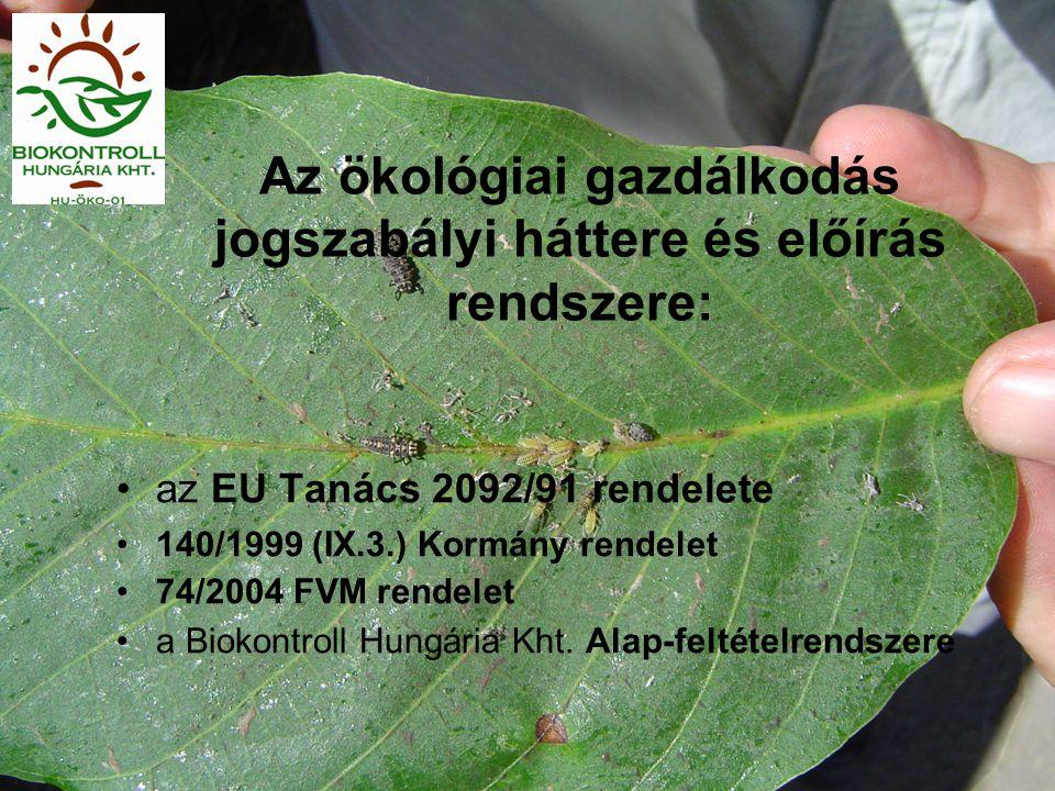 Az ökológiai gazdálkodás jogszabályi háttere és előírás rendszere: