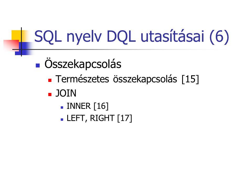 SQL nyelv DQL utasításai (6)