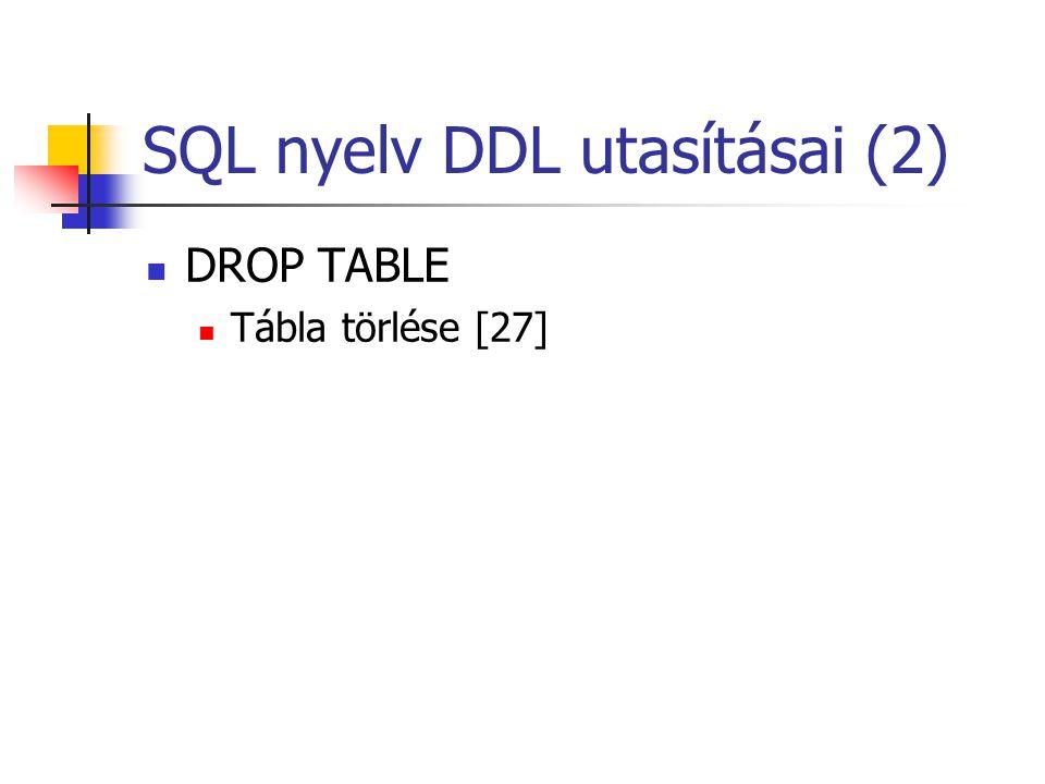SQL nyelv DDL utasításai (2)