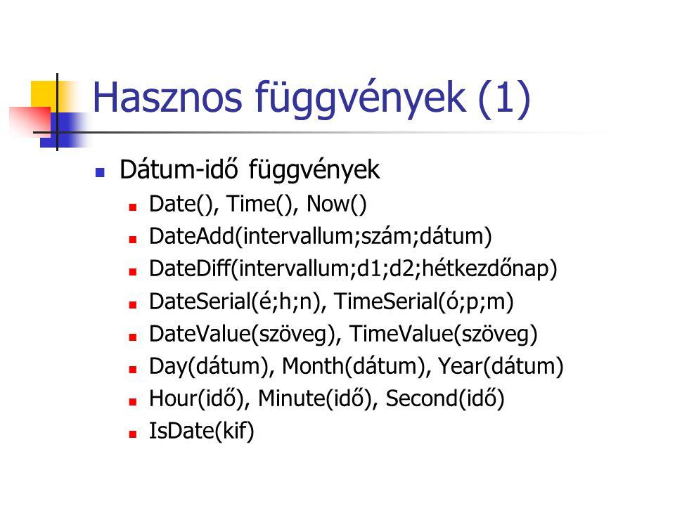 Hasznos függvények (1) Dátum-idő függvények Date(), Time(), Now()