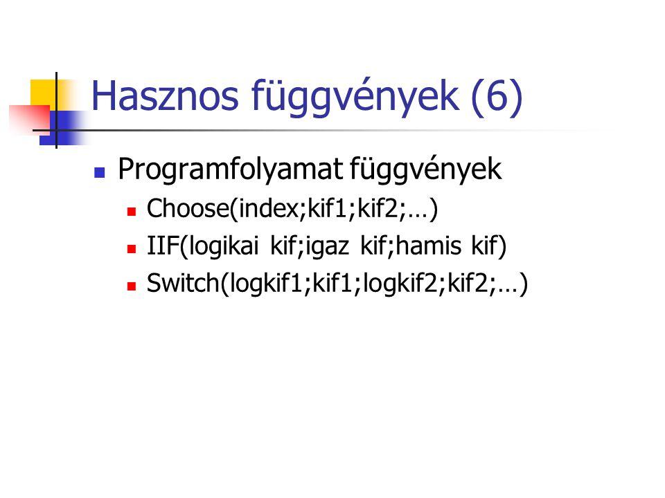 Hasznos függvények (6) Programfolyamat függvények