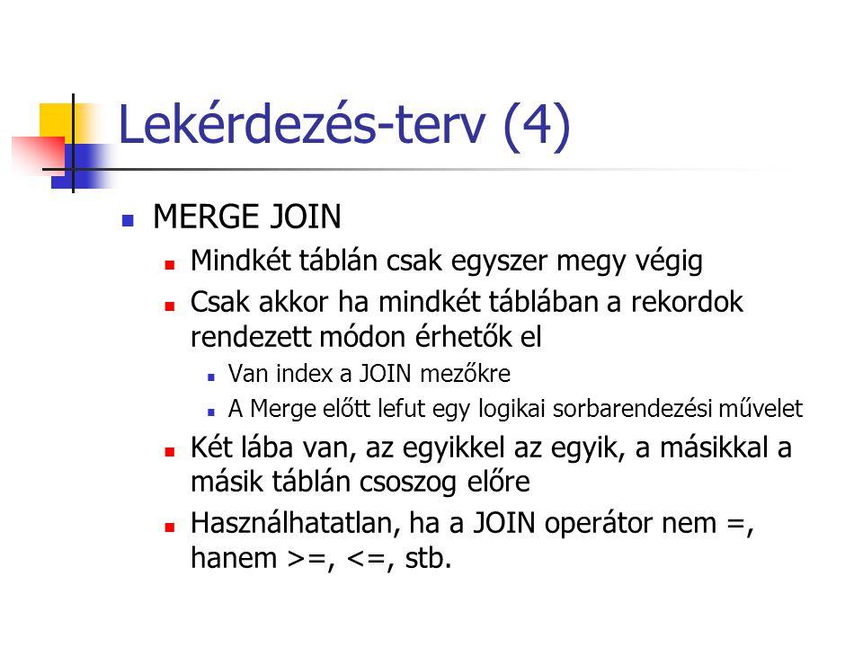 Lekérdezés-terv (4) MERGE JOIN Mindkét táblán csak egyszer megy végig