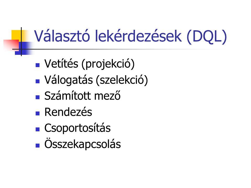 Választó lekérdezések (DQL)