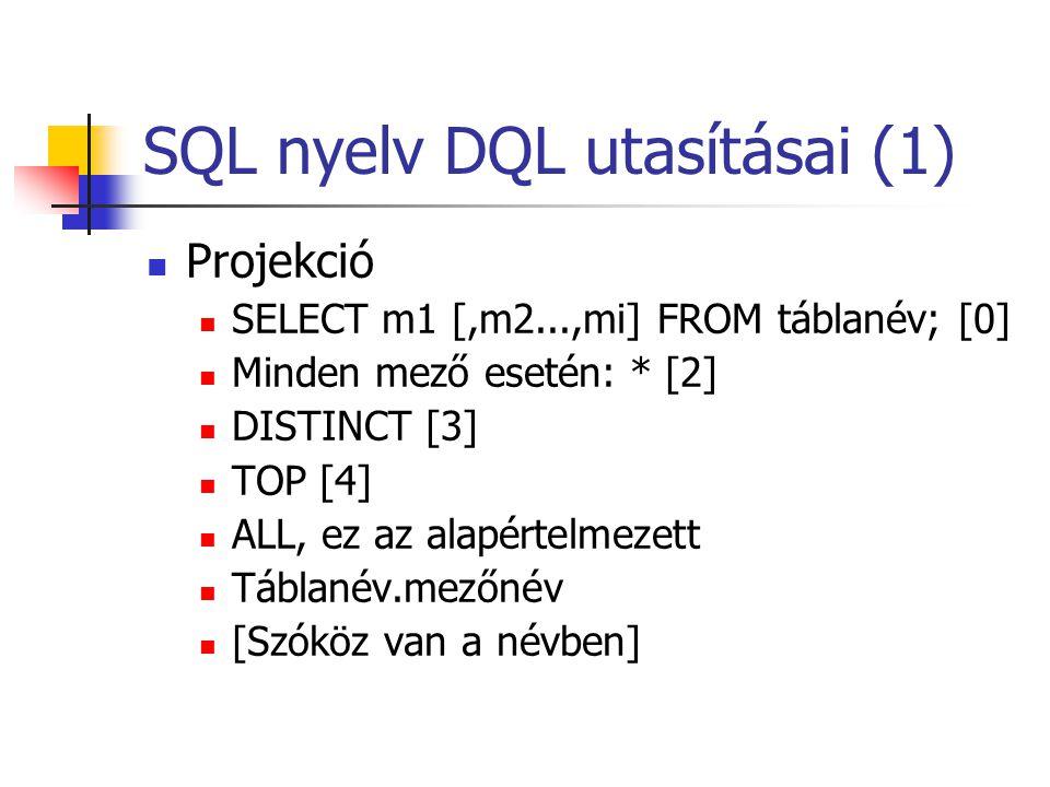 SQL nyelv DQL utasításai (1)