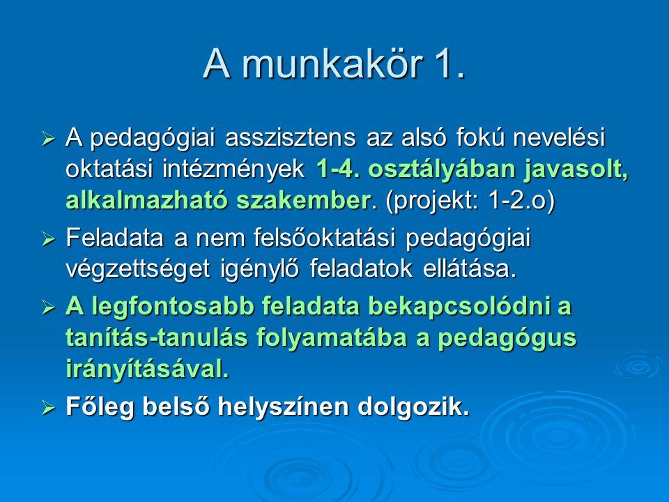A munkakör 1. A pedagógiai asszisztens az alsó fokú nevelési oktatási intézmények 1-4. osztályában javasolt, alkalmazható szakember. (projekt: 1-2.o)