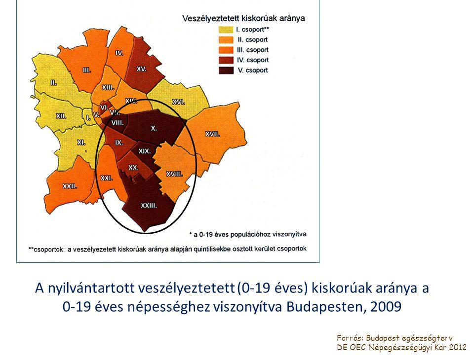 A nyilvántartott veszélyeztetett (0-19 éves) kiskorúak aránya a 0-19 éves népességhez viszonyítva Budapesten, 2009