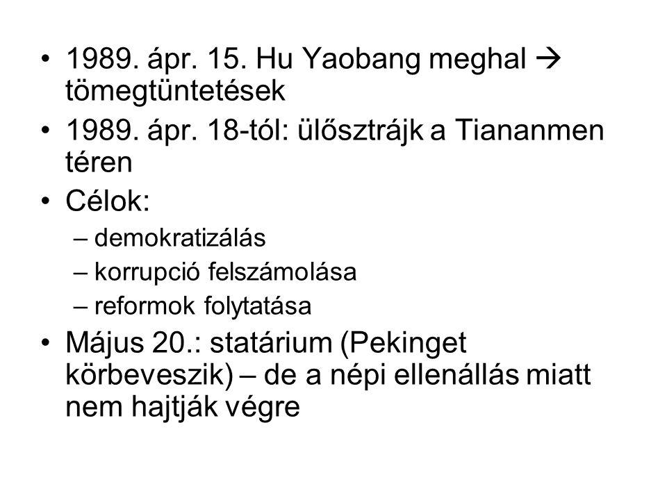 1989. ápr. 15. Hu Yaobang meghal  tömegtüntetések