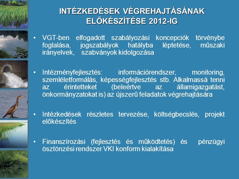 INTÉZKEDÉSEK VÉGREHAJTÁSÁNAK ELŐKÉSZÍTÉSE 2012-IG