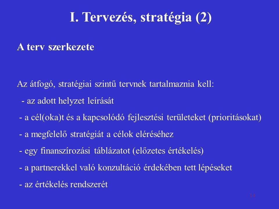 I. Tervezés, stratégia (2)