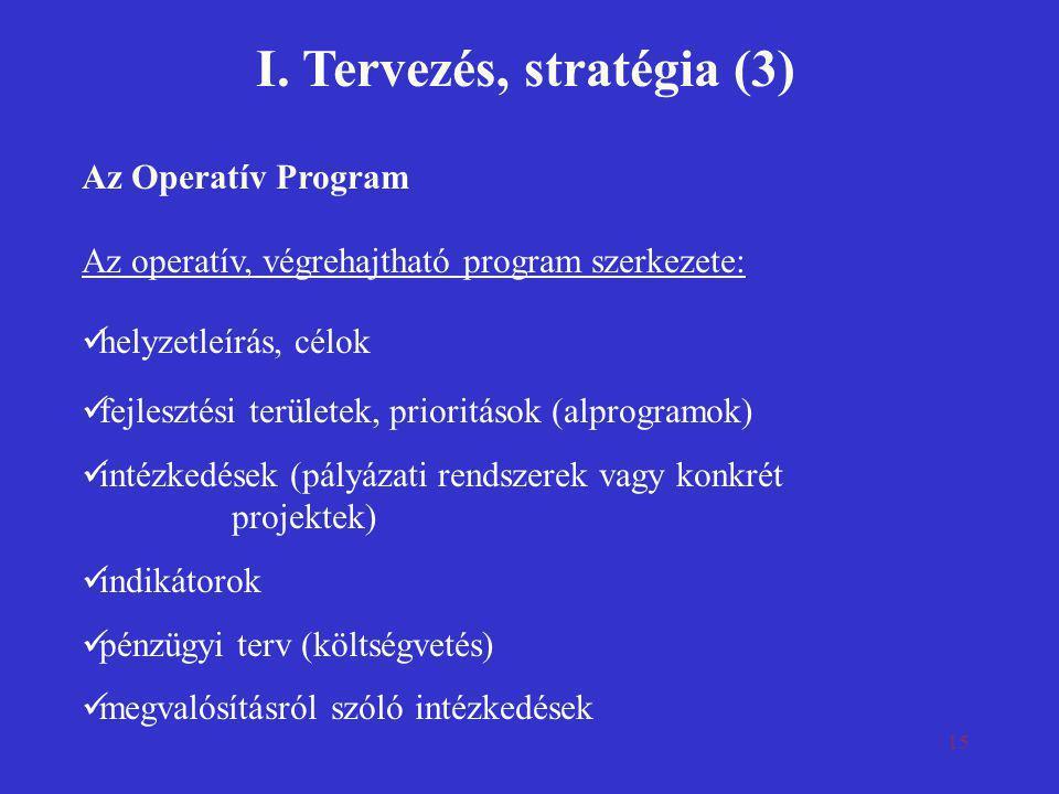 I. Tervezés, stratégia (3)